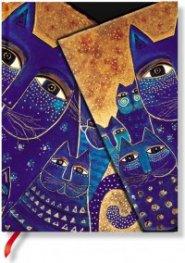 Бележник Paperblanks Fantastic Felines Midi Wrap, Lined/ 3961