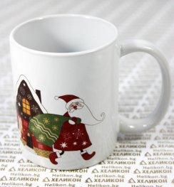 Коледна чаша Дядо Коледа и къщичка