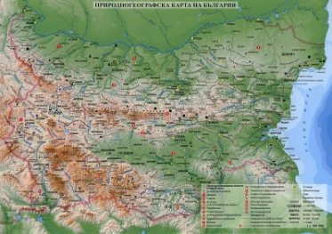 Природногеографска карта на България М 1: 1 700 000